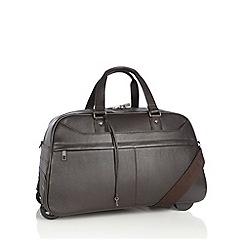 J by Jasper Conran - Designer brown leather wheeled holdall