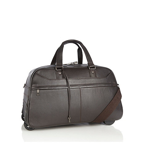 J by Jasper Conran - Designer brown leather wheeled holdall