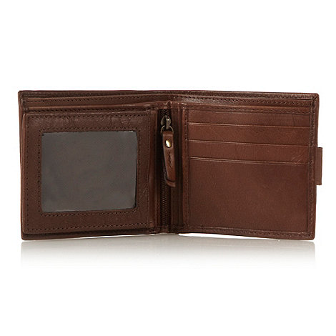 RJR.John Rocha - Designer brown leather stitch popper wallet