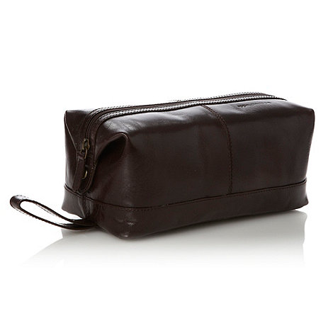 RJR.John Rocha - Designer dark brown rectangular leather wash bag