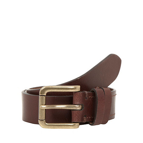 J by Jasper Conran - Designer dark brown leather roller buckle belt