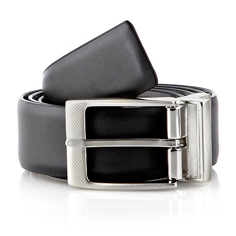 Jeff Banks - Designer black textured buckled reversible leather belt (size L)