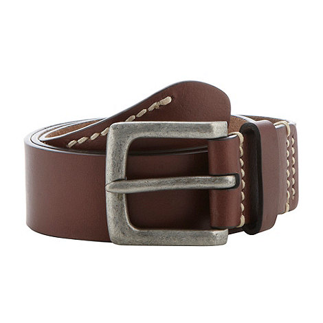RJR.John Rocha - Designer brown stitched leather square buckle belt