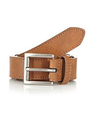 Tan bonded leather skinny square buckle belt