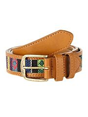 Tan patterned woven belt