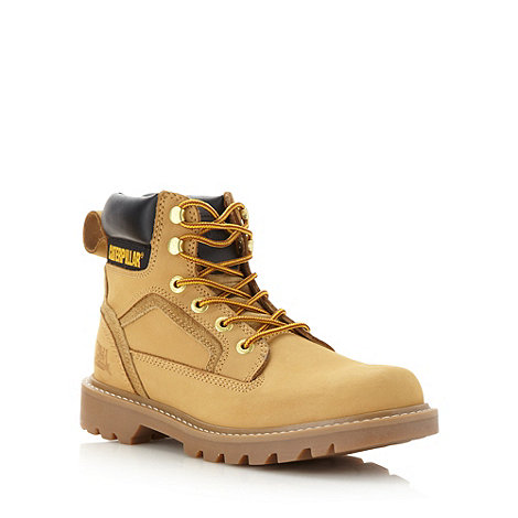 Caterpillar - Light tan leather worker boots
