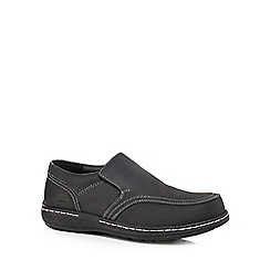Hush Puppies - Black suede 'Vindo Victory' slip-on shoes