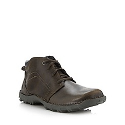 Caterpillar - Big and tall dark tan leather boots