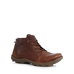 Caterpillar - Big and tall tan leather stitch boots
