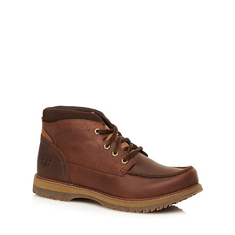 Caterpillar - Wide fit brown leather apron ankle boots