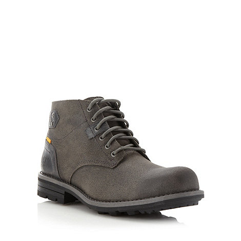 Caterpillar - Dark grey grained leather ankle boots