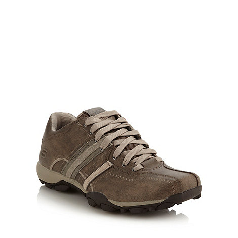 Skechers - Brown leather stripe trainers