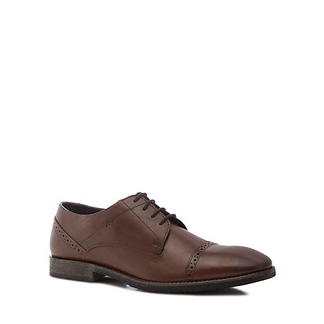 Skechers - Brown leather panel grip slip on shoes