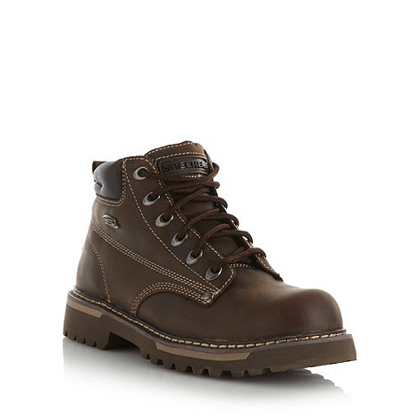 Skechers - Brown leather lace stitch boots