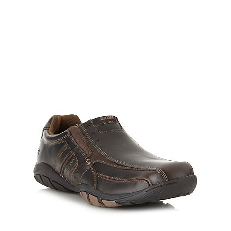 Skechers - Brown +Dixon+ leather slip on shoes