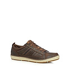 Skechers - Big and tall dark brown 'Irvin Hamal' leather trainers