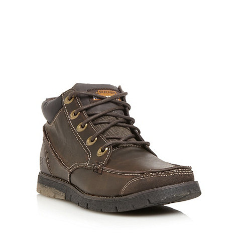Skechers - Brown 'Kane Maken' leather apron boots