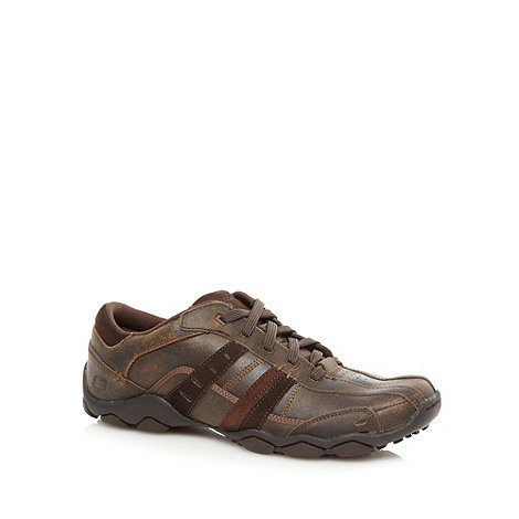 Skechers - Wide fit chocolate +Diameter Vassell+ padded leather trainers