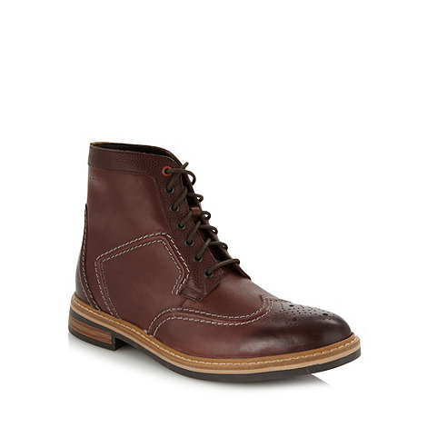 Clarks - Wide fit wine leather 'Darby Top' brogue boots