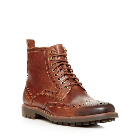 null - Wide fit tan +Montacute Lord+ brogue boots