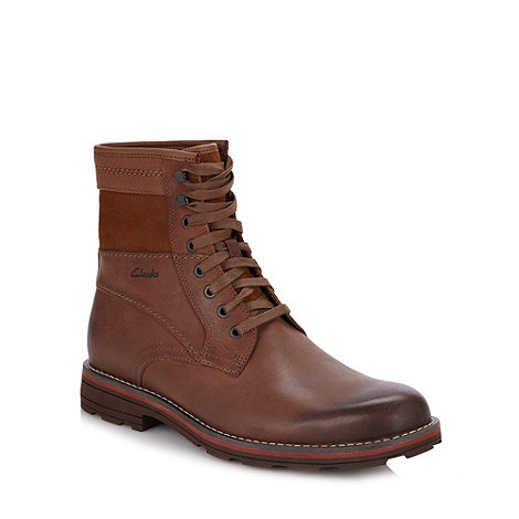 Clarks - Wide fit brown +Naylor+ leather high top boots