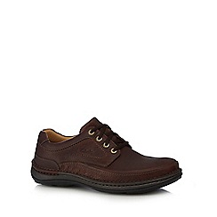 Clarks - Big and tall wide fit brown leather 'Nature Three' shoes
