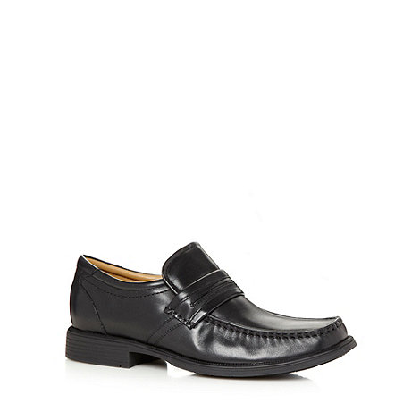 Clarks - Black +Hank Work+ leather slip on apron shoes