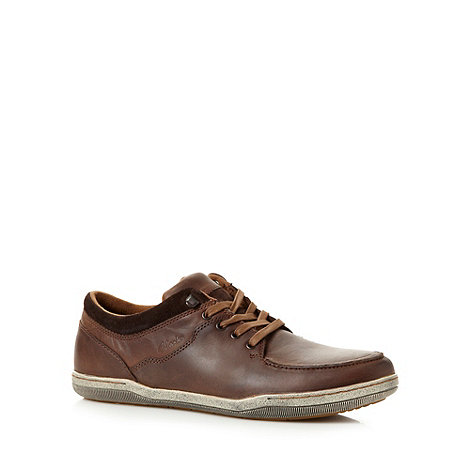 Clarks - Brown +Newtown Vibe+ leather apron lace shoes
