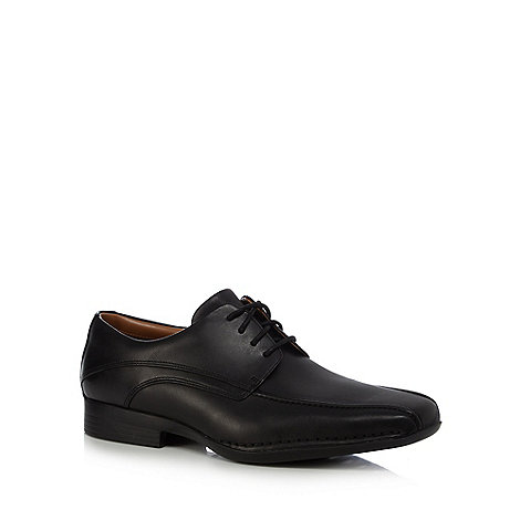 Clarks - Wide fit black +Francis Air+ leather tramline stitched shoes