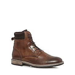 J by Jasper Conran - Dark brown leather 'Curium' lace up boots