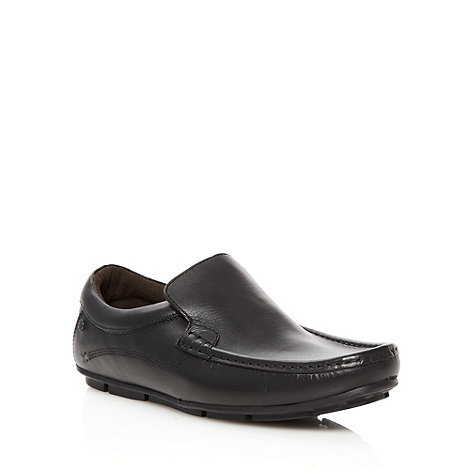 Base London - Black leather apron front slip on shoes