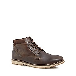 Mantaray - Chocolate brown leather 'Camo' lace up boots