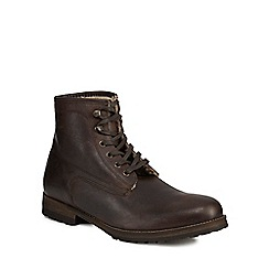 Mantaray - Dark brown leather 'Ankara' lace up boots