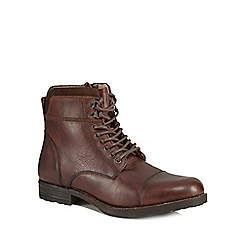 Red Herring - Brown leather 'Jovian' lace-up boots