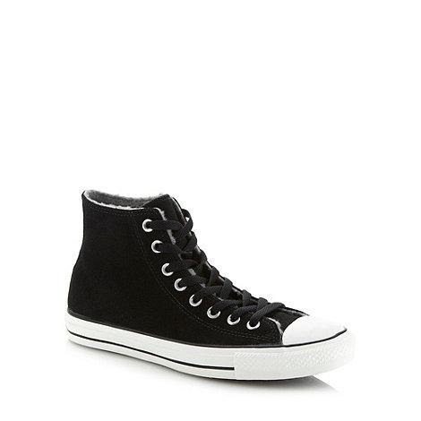 Converse - Black suede leather fleece hi-top trainers