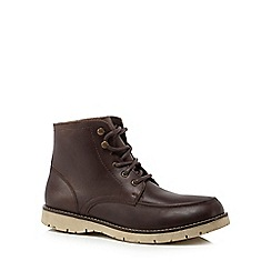 Mantaray - Dark brown leather 'Minsk' lace up boots