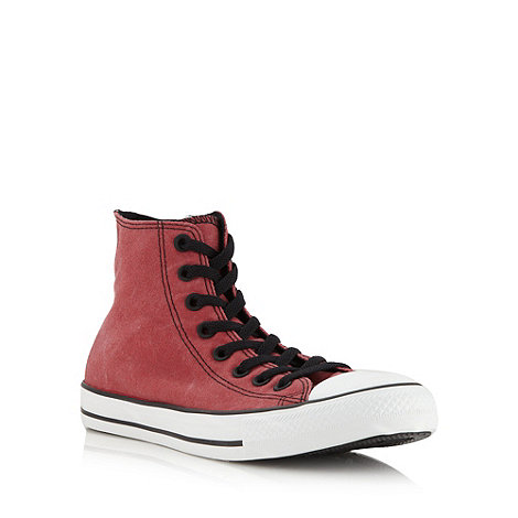 Converse - Red +vintage+ canvas hi-top trainers