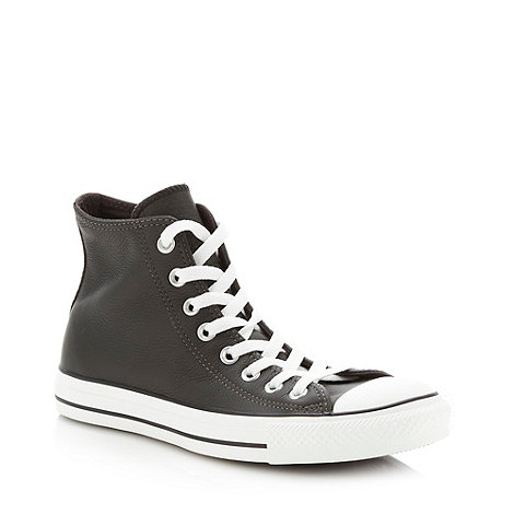 Converse - Near black leather +All Star+ hi-top trainers