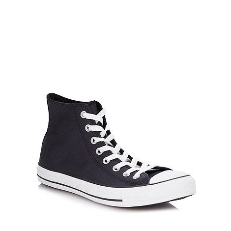 Converse - Black leather high top trainers