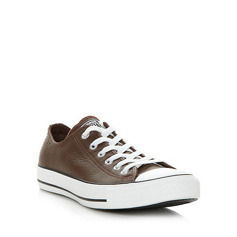 Converse - Brown leather lo-top trainers