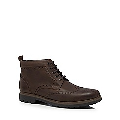 Maine New England - Dark brown 'Port' leather brogue boots
