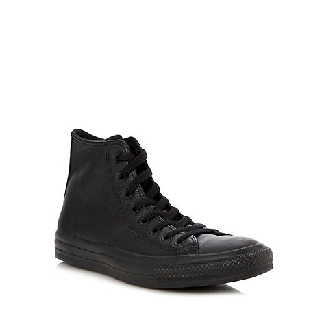 Converse - Black leather hi-top trainers