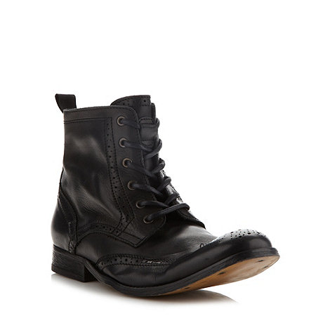 H By Hudson - Black leather lace up brogue boots