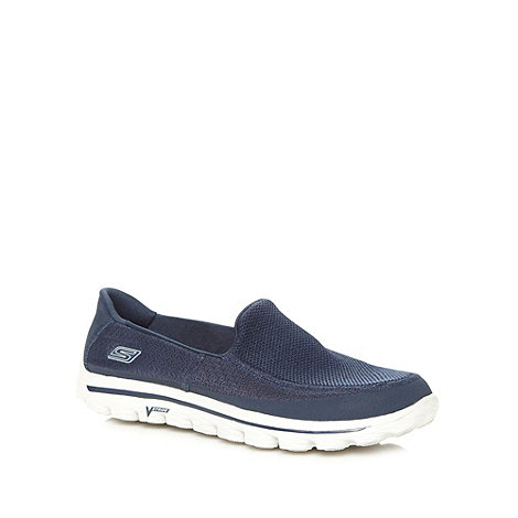 Skechers GOrun - Navy mesh +Go Walk 2+ slip on trainers