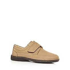 Henley Comfort - Beige suede leather rip tape padded shoes