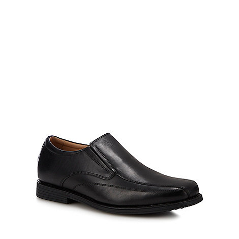 Henley Comfort - Black leather tramline slip on shoes