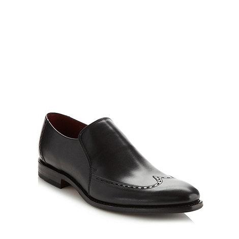 Loake - Black polished leather slip on shoes