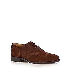 Loake - Big and tall wide fit brown suede brogues