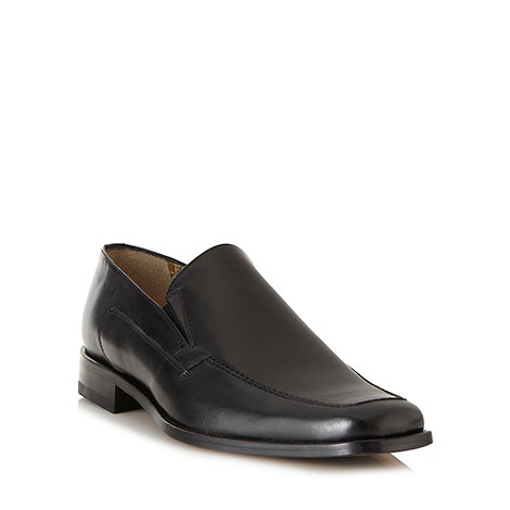 Loake - Black leather slip on shoes