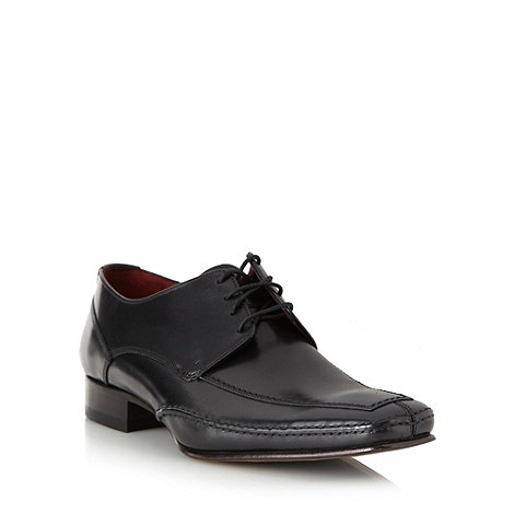 Loake - Black leather lace up apron toe shoes